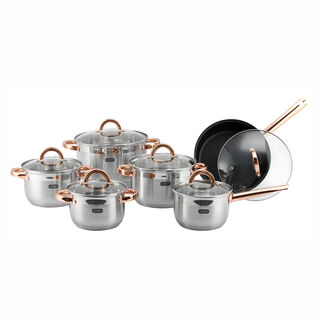 Alberto Stainless Steel Cookware Set 12 Pieces Golden Handle