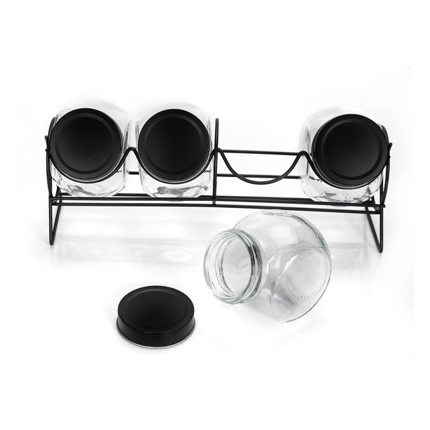 Alberto 4 Pieces Glass Spice Jars With Clip Lid And Metal Rack image number 1