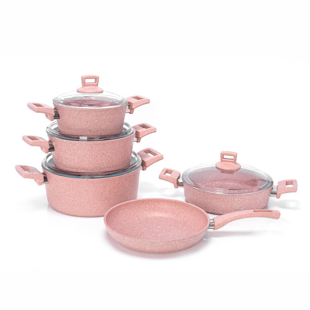 Alberto Granite Cookware Set 9 Pieces With Glass Lid Pinkstone Color image number 1