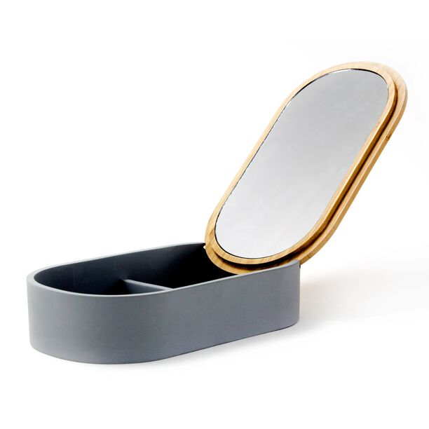 Glass Cosmetic Mirror W/ 1X Bamboo Lid & Polyresin Storage Box Size: 23X13.4X5.5Cm image number 2