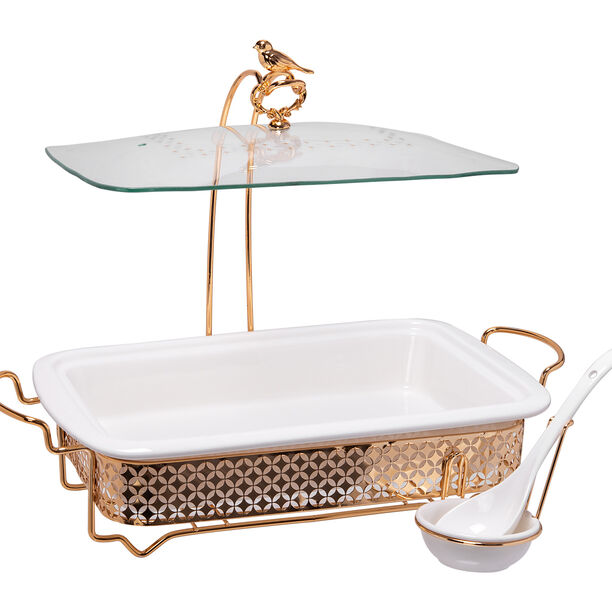 Rectangle Food Warmer With Hanger Gold image number 0