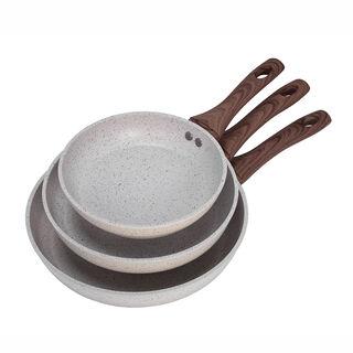 Alberto Forged Aluminum Frypan Set 3 Pieces Cream