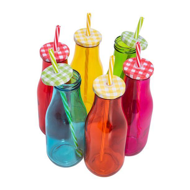 Alberto 6 Pcs Glass Milk Bottles W/ Metal Lid & Straw Asst Colors image number 2