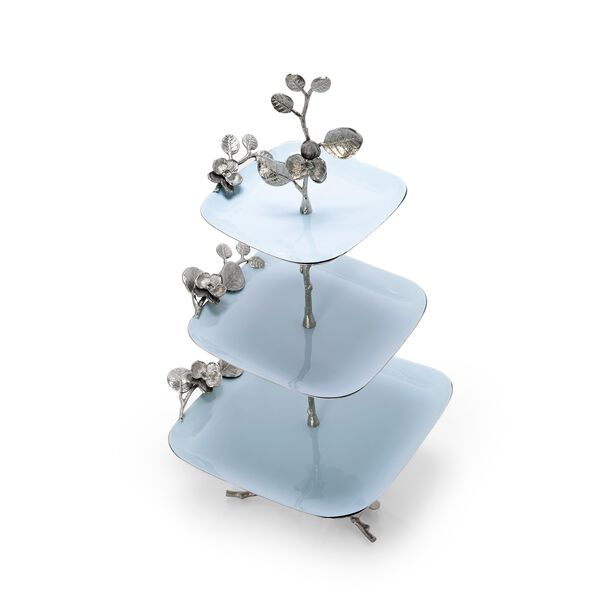 La Mesa 3 Tiers Serving Plates Silver Blue Design image number 1