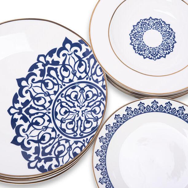 18 Pcs Dark Blue Frills Dinner Set  image number 2