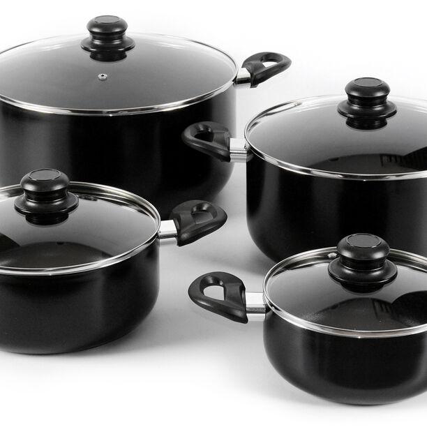Alberto Nonstick Cookware Set W/Glass Lid 8Pcs Set Black Color (18/22/26/30Cm) image number 1