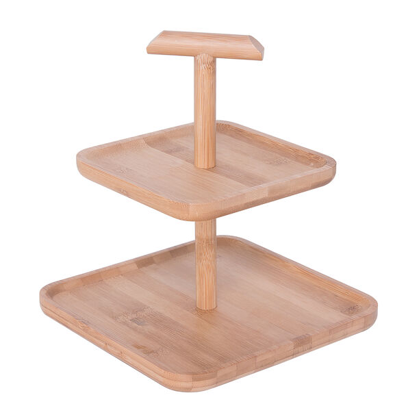Bamboo Square 2 Storey Plates With Handle  image number 0