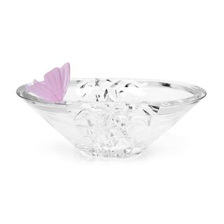 Decorative Centerpiece Glass With Crystal Pink Butterfly