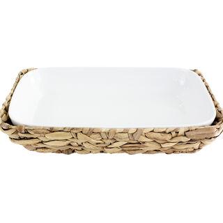 Porcelain Rectangle Dish With Rattan Baske