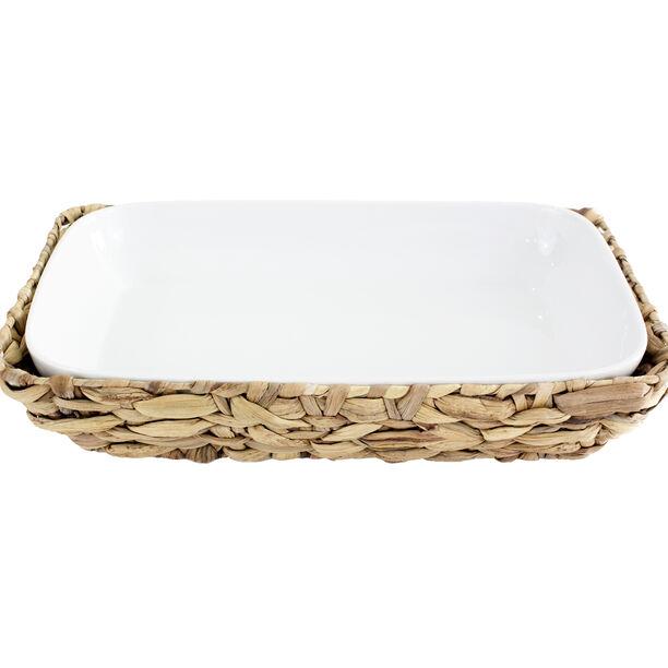 Porcelain Rectangle Dish With Rattan Baske image number 0