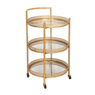 Serving Trolley 3 Tier Metal Gold Round Shape