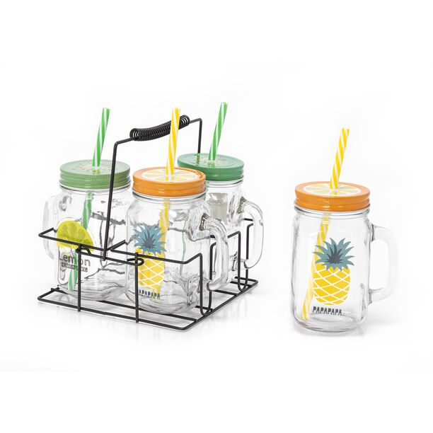 Alberto 4Pcs Glass Mug With Metal Holder V:450Ml Summer Design image number 2