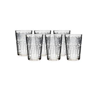 Moroccan Transparent Tea Glass Silver Plating Vol:6Oz