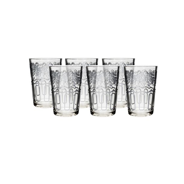 Moroccan Transparent Tea Glass Silver Plating Vol:6Oz image number 0