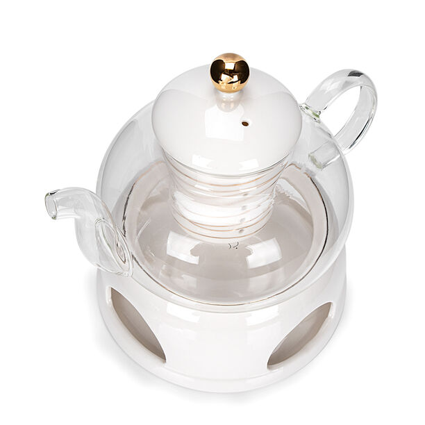 English Tea Pot With Warmer Inner Edg2 Gold image number 2