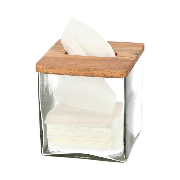 علبة مناديل من الخشب والزجاج image number 2