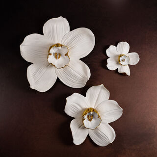 Wall Deco Orchid Flower White and Gold 23.8*6.7*24.5Cm