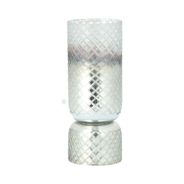 Glass Diamond Candle Holder Solid Cut Ombre And Silver  image number 1