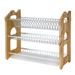 Alberto 3 Layers Rubber Wood With Aluminium Dish Rack image number 0