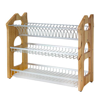 Alberto 3 Layers Rubber Wood With Aluminium Dish Rack