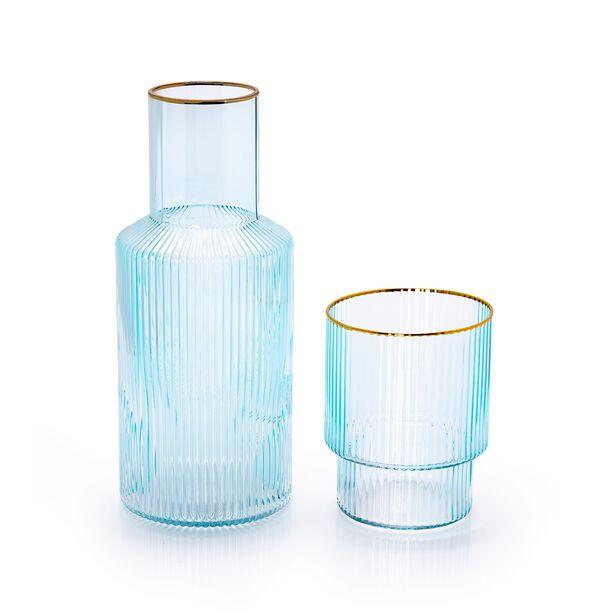 GLASS BEDSIDE WATER JUG AND TUMBLER LIGHT BLUE COLOR WITH GOLD RIM image number 1