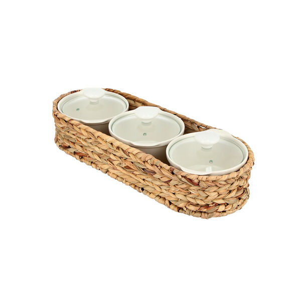 Porcelain 3Pcs Round Casseroles With Lid And Rattan Basket image number 1