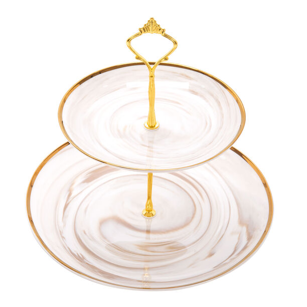 Honey Marble 2 Tier Cake Stand image number 1