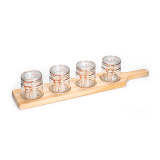 Alberto 4 Pieces Glass Mini Spice Jars With Copper Clip Lid And Wooden Rack