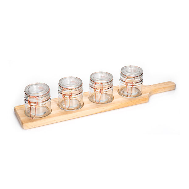 Alberto 4 Pieces Glass Mini Spice Jars With Copper Clip Lid And Wooden Rack image number 0