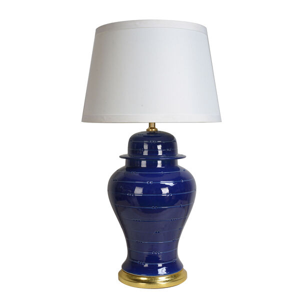 Table Lamp Blue With White Shade image number 0