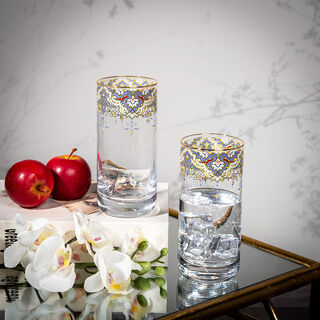 Manuscript Set Of 4 Clear Dof With Decal And Gold Rim