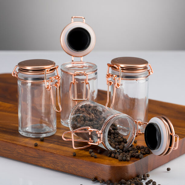 Alberto Glass Mini Spice Jars Set 4 Pieces With Copper Clip Lid image number 2