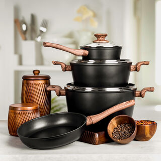 7Pcs Forged Aluminum Cookware Set With Silicone Handles