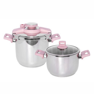 Alberto Pressure Cookers Set With Pink Handles