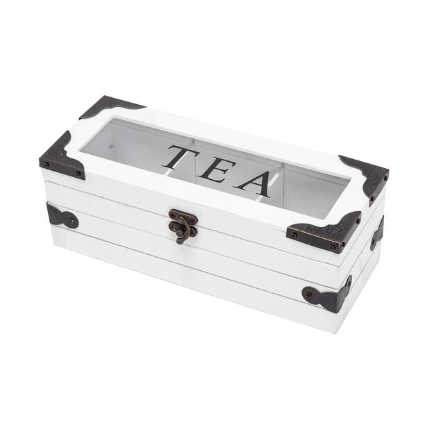 Wood And Glass Tea Box 3 Parts image number 0