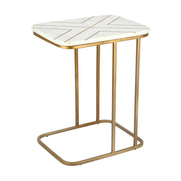 Sofa Side Table Gold And White Marble image number 1