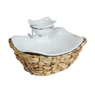La Mesa Salad Serving Bowl 2 Tier With Rattan Base