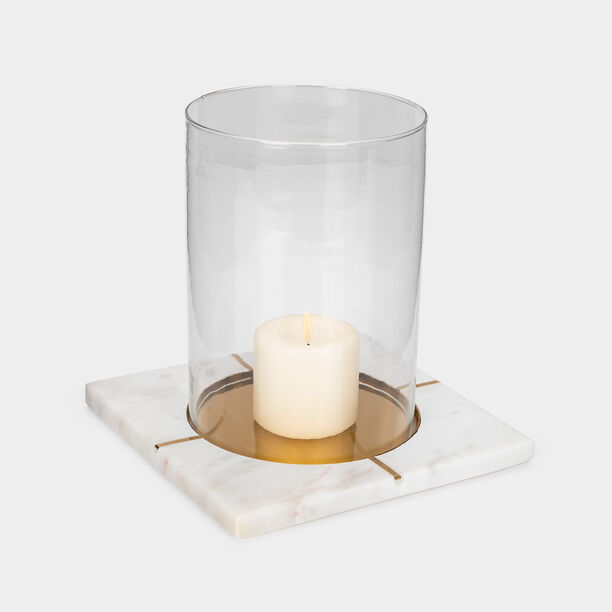 Candle Holder White Marble Gold Inlay image number 1