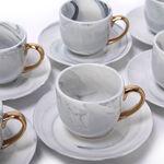 La Mesa Grey Marble/Gold Coffee Set 12 Pieces image number 1