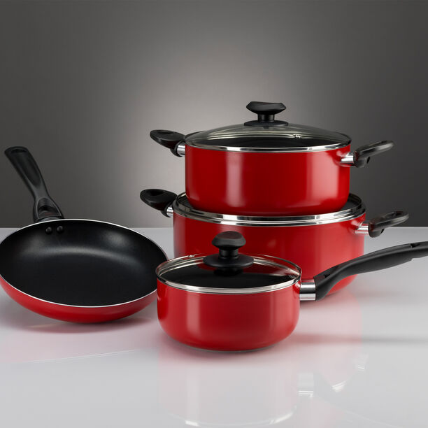 Betty Crocker Non Stick Cookware Set 7 Pieces With Glass Lid Red Color image number 1