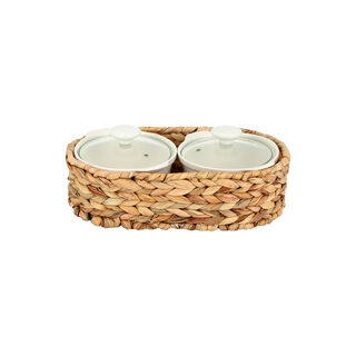Porcelain 2Pcs Round Casseroles With Lid And Rattan Basket