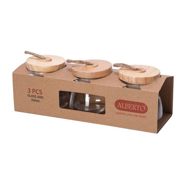 Alberto® 3Pcs Jars 200Ml W/ Wooden Lid Himp Rope image number 1