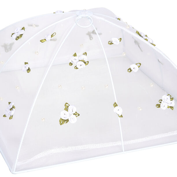 Chef Classics Fold Able White Food Cover With Roses image number 1