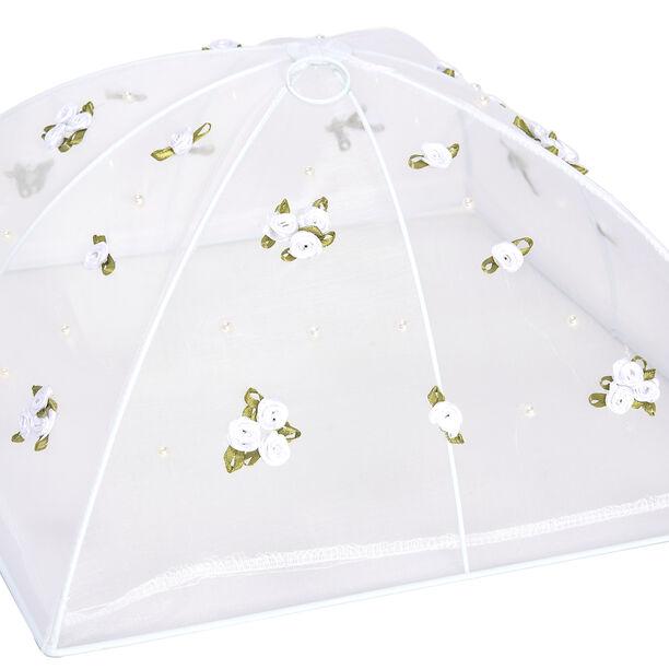 غطاء طعام قابل للطي لون أبيض بزهور  image number 1