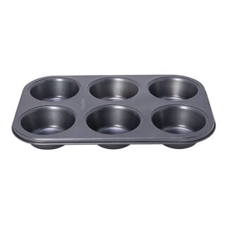 Betty Crocker Non Stick 6 Cup Texas Muffin Pan, Grey Color L:32Xw:21.5Xh:3.8Cm