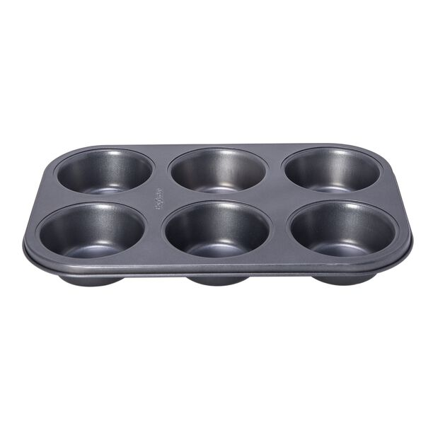 Betty Crocker Non Stick 6 Cup Texas Muffin Pan, Grey Color L:32Xw:21.5Xh:3.8Cm image number 0