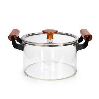 Alberto Borosilicate Glass Casserole With Lid And Wooden Handle V: 7200Ml