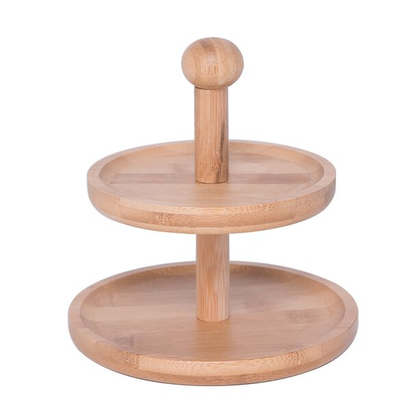 Bamboo Round 2 Storey Mini Plates With Handle  image number 0