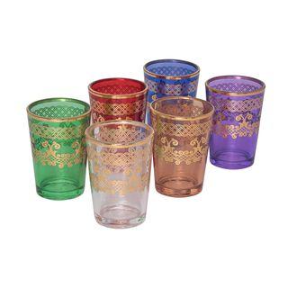 طقم كاسات مغربية زجاج ملون سعة:  6