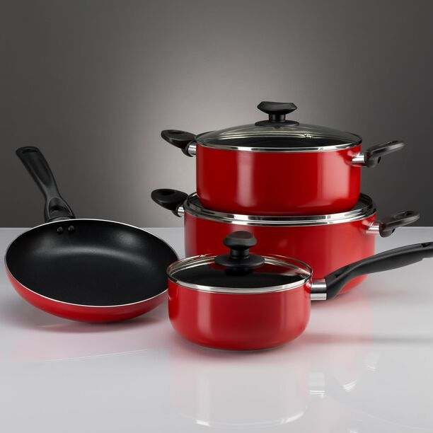 Betty Crocker Non Stick Cookware Set 7 Pieces With Glass Lid Red Color image number 2